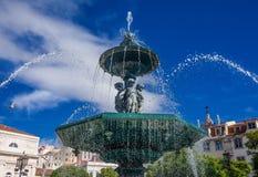 Τετραγωνική πηγή Rossio στη Λισσαβώνα Στοκ φωτογραφίες με δικαίωμα ελεύθερης χρήσης