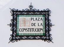 Τετραγωνική πινακίδα συνταγμάτων, Mijas Στοκ φωτογραφία με δικαίωμα ελεύθερης χρήσης
