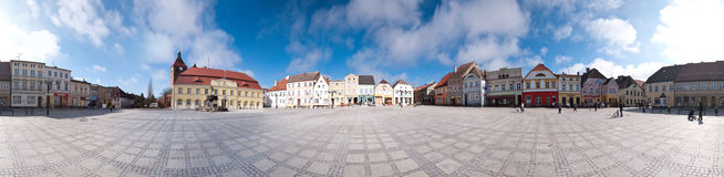 τετραγωνική πόλη πανοράματ& Στοκ Εικόνες