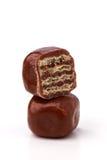 Τετραγωνική σοκολάτα γκοφρετών δύο Στοκ φωτογραφία με δικαίωμα ελεύθερης χρήσης