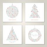 Τετραγωνική συλλογή σχεδίου καρτών Χριστουγέννων Στοκ φωτογραφίες με δικαίωμα ελεύθερης χρήσης