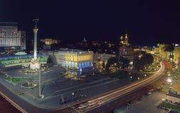 Τετραγωνική τοπ άποψη βραδιού Nezalezhnosti Maidan Στοκ φωτογραφία με δικαίωμα ελεύθερης χρήσης