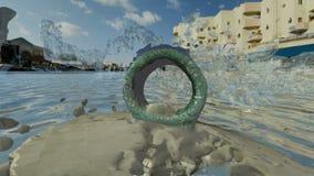 Τετραγωνικοί άγαλμα δαχτυλιδιών και παφλασμός νερού απόθεμα βίντεο