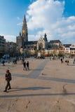 Τετραγωνικοί άνθρωποι της Αμβέρσας Groenplaats στοκ φωτογραφία με δικαίωμα ελεύθερης χρήσης