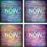 4 τετραγωνικοί ακτοφύλακες σύννεφων λέξης NOW mindfulness Στοκ φωτογραφία με δικαίωμα ελεύθερης χρήσης