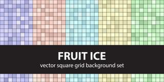 Τετραγωνικός πάγος φρούτων σχεδίων καθορισμένος Διανυσματικά άνευ ραφής υπόβαθρα κεραμιδιών Στοκ εικόνα με δικαίωμα ελεύθερης χρήσης