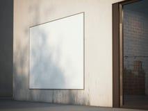 Τετραγωνικός πίνακας διαφημίσεων στον τοίχο τρισδιάστατη απόδοση Στοκ Εικόνες