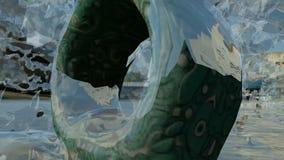 Τετραγωνικό άγαλμα δαχτυλιδιών κεντρικό ο παγωμένος παφλασμός νερού φιλμ μικρού μήκους