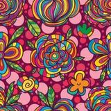 Τετραγωνικό άνευ ραφής σχέδιο φρούτων λουλουδιών Στοκ Εικόνες