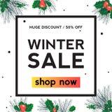 Τετραγωνικό έμβλημα χειμερινής πώλησης φύλλων της Holly ελεύθερη απεικόνιση δικαιώματος