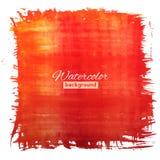 Τετραγωνικό έμβλημα κόκκινος-πορτοκαλιών watercolour Στοκ εικόνα με δικαίωμα ελεύθερης χρήσης