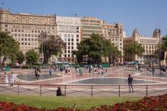 Τετραγωνικό Βαρκελώνη Plaça κέντρο της πόλης Catalunya Στοκ Φωτογραφία