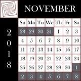 Τετραγωνικό γιγαντιαίο μέγεθος ημερολογιακού ΝΟΕΜΒΡΙΟΥ σχήματος 2018 ελεύθερη απεικόνιση δικαιώματος