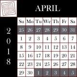 Τετραγωνικό ημερολόγιο ΑΠΡΙΛΙΟΣ σχήματος 2018 ελεύθερη απεικόνιση δικαιώματος