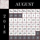 Τετραγωνικό ημερολόγιο ΑΥΓΟΥΣΤΟΣ σχήματος 2018 διανυσματική απεικόνιση