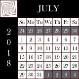 Τετραγωνικό ημερολόγιο ΙΟΥΛΙΟΣ σχήματος 2018 ελεύθερη απεικόνιση δικαιώματος