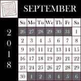 Τετραγωνικό ημερολόγιο ΣΕΠΤΕΜΒΡΙΟΣ σχήματος 2018 ελεύθερη απεικόνιση δικαιώματος