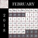 Τετραγωνικό ημερολόγιο ΦΕΒΡΟΥΑΡΙΟΣ σχήματος 2018 ελεύθερη απεικόνιση δικαιώματος