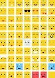 Τετραγωνικό διανυσματικό σύνολο Emoticons Στοκ Εικόνα