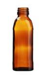 Τετραγωνικό καφετί μπουκάλι γυαλιού που απομονώνεται στο άσπρο υπόβαθρο Στοκ εικόνα με δικαίωμα ελεύθερης χρήσης