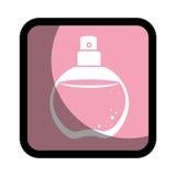 Τετραγωνικό κουμπί με το στρογγυλευμένο άρωμα ψεκασμού μπουκαλιών γυαλιού Στοκ Εικόνες