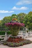 Τετραγωνικό μπλε λουλουδιών Guanyin Στοκ Φωτογραφίες