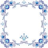 Τετραγωνικό μπλε floral πλαίσιο Στοιχεία προσδιορισμού βασισμένα στην κινεζική ή ρωσική ζωγραφική πορσελάνης Στοιχείο που απομονώ απεικόνιση αποθεμάτων