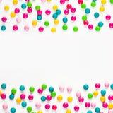 Τετραγωνικό πλαίσιο τροφίμων πολύχρωμα dragees καραμελών Στοκ φωτογραφίες με δικαίωμα ελεύθερης χρήσης