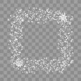 Τετραγωνικό πλαίσιο Χριστουγέννων με τις νιφάδες χιονιού στο διαφανές υπόβαθρο διάνυσμα ελεύθερη απεικόνιση δικαιώματος