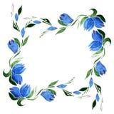 Τετραγωνικό πλαίσιο Watercolor των μπλε λουλουδιών κουδουνιών και των πράσινων φύλλων διάνυσμα απομονώστε Στοκ Εικόνες