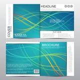 Τετραγωνικό πρότυπο φυλλάδιων Σκηνικό των κυματιστών γραμμών αφηρημένο διάνυσμα ανασκόπ& Στοκ Φωτογραφίες