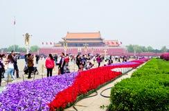 Τετραγωνικό πλήθος Tian'anmen Στοκ Εικόνες