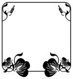 Τετραγωνικό πλαίσιο λουλουδιών σκιαγραφιών διάστημα αντιγράφων Διανυσματική τέχνη συνδετήρων Στοκ Εικόνες