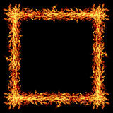 τετραγωνικό πλαίσιο πυρκαγιάς που απομονώνεται στο Μαύρο Στοκ Εικόνα