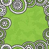 Τετραγωνικό πλαίσιο των άσπρων κύκλων με τη μαύρη περίληψη στο πράσινο υπόβαθρο Σύσταση των σημείων με το διάστημα για το κείμενο Στοκ φωτογραφία με δικαίωμα ελεύθερης χρήσης