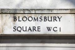 Τετραγωνικό σημάδι οδών Bloomsbury στο Λονδίνο Στοκ Εικόνα