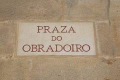 Τετραγωνικό σημάδι Obradoiro, Σαντιάγο de Compostela Στοκ Φωτογραφία