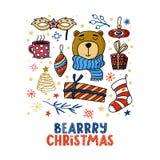 Τετραγωνικό σχέδιο ευχετήριων καρτών Chrismas με την αρκούδα Στοκ φωτογραφίες με δικαίωμα ελεύθερης χρήσης