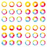 Τετραγωνικό σύνολο διαφορετικών διαγραμμάτων πιτών με το χρώμα βελών απεικόνιση αποθεμάτων