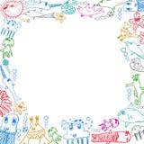 Τετραγωνικό υπόβαθρο πλαισίων πλασμάτων θάλασσας παιδιών Στοκ φωτογραφία με δικαίωμα ελεύθερης χρήσης
