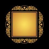 Τετραγωνικό χρυσό πλαίσιο στο μαύρο υπόβαθρο για τις κάρτες, προσκλήσεις, po Στοκ Φωτογραφίες