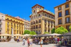Τετραγωνικό Plaza Ramales της Μαδρίτης στο στο κέντρο της πόλης της πόλης με Στοκ Εικόνα