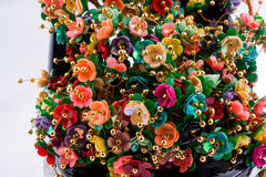 Τεχνητά διακοσμητικά λουλούδια χρώματος Στοκ εικόνες με δικαίωμα ελεύθερης χρήσης