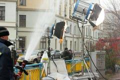 Τεχνητή βροχή στον κινηματογράφο Στοκ Εικόνες