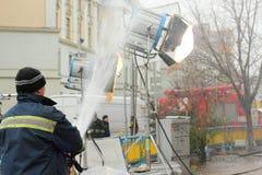 Τεχνητή βροχή στον κινηματογράφο Στοκ Φωτογραφία