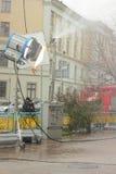 Τεχνητή βροχή στον κινηματογράφο Στοκ Φωτογραφίες