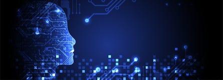 τεχνητή ηλεκτρονική νοημοσύνη έννοιας κυκλωμάτων εγκεφάλου mainboard τεχνολογία πλανητών γήινων τηλεφώνων δυαδικού κώδικα ανασκόπ