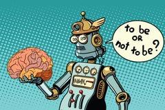 Τεχνητή νοημοσύνη και ο ανθρώπινος εγκέφαλος διανυσματική απεικόνιση