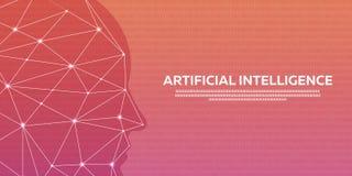 Τεχνητή νοημοσύνη, κυβερνητικός εγκέφαλος, δυαδικός κώδικας επίσης corel σύρετε το διάνυσμα απεικόνισης Στοκ εικόνες με δικαίωμα ελεύθερης χρήσης
