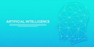 Τεχνητή νοημοσύνη, κυβερνητικός εγκέφαλος, δυαδικός κώδικας επίσης corel σύρετε το διάνυσμα απεικόνισης Στοκ Εικόνα